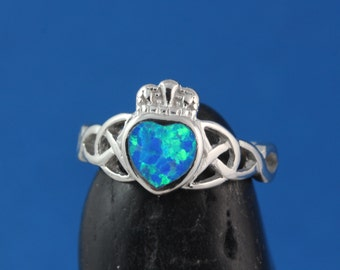 Blue Opal ring, Sterling silver Friendship Irish Claddagh Ring, Opal Ring initial,  Valentine Day, Knot Ring Love, loyalty symbols. Rf 180