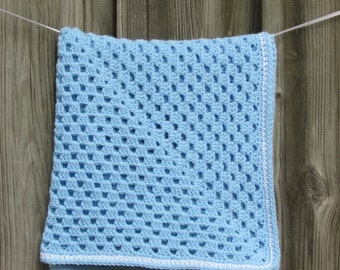 Crochet Granny Square Baby Blanket Solid Baby Blue with White Stripe Border