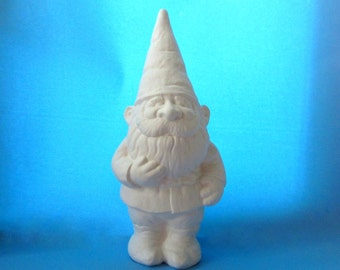 Ceramic Unpainted Garden Gnome - 14 inches,  lawn or garden gnome, outdoor or indoor