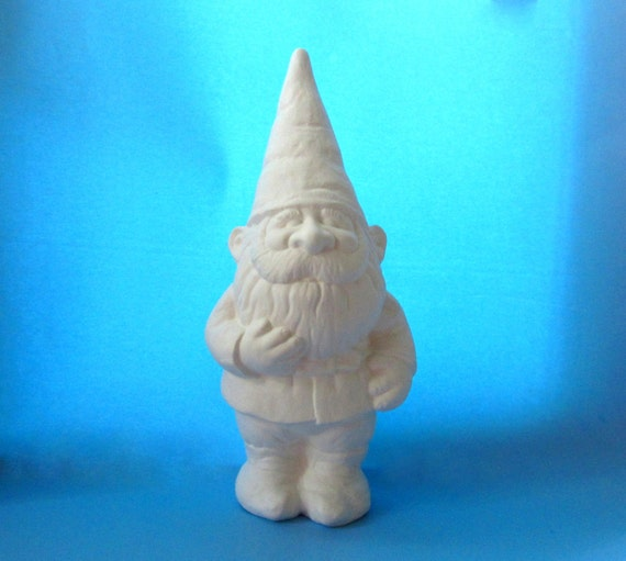 Ceramic Gnomes To Paint: Ceramic Unpainted Garden Gnome 15 Inches Lawn Or By