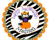 Halloween Owl Pumpkin Zebra Round Labels Stickers for Party Favors, Gift Tags, Address Labels, Preppy Labels, Children