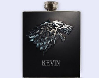 Game Of The Thrones Stark Flask,  Personalized Custom Flask, NOT 3D, graphic image