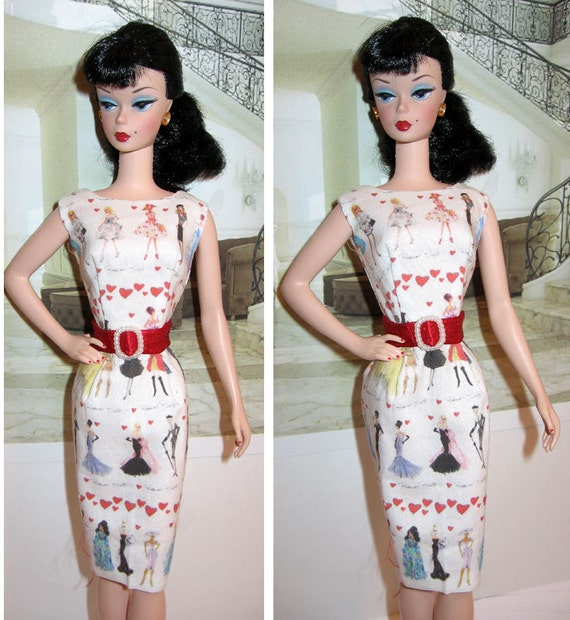 Barbie OOAK Retro slim sheath Dress with red belt and silkstone doll illustrations