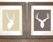 Deer Stag Antlers - Set of 2 Art Prints - Wall Art Home Decor - Pick Your Colors - Woodland