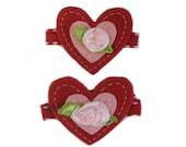 Valentine Hair Clip, Toddler Nonslip Hair Clip, Felt Heart Hair Clips, Girl Hair Clip, Red Hair Clip, Valentines Day Hair Accessories