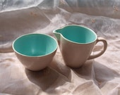 1950s Poole Pottery Streamline Twintone Cream and Sugar set