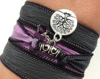 Tree of Life Silk Wrap Bracelet Yoga Jewelry Earthy Friendship Purple Mother Earth Unique Christmas Gift For Her Under 50 Item S4