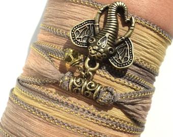 Sacred Elephant Silk Wrap Bracelet Ganesha Yoga Unique Christmas Fall Autumn Gift For Her Under 50 Item P23