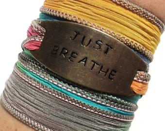 Silk Wrap Bracelet Just Breathe Yoga Jewelry Colorful Bohemian Keep Calm Unique Gift For Her Christmas Stocking Stuffer Under 50 Item K45