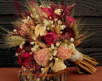 Rustic Burgundy and Pink Wedding Bouquet, Bridal Bouquet, Rustic Chic Bouquet, Dried Flower Bouquet, Peony Bouquet with Wheat & Wild Flowers