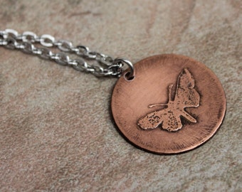 Butterfly necklace, rustic necklace, copper necklace, etched necklace, etched butterfly, rustic butterfly, oxidized copper, copper jewelry