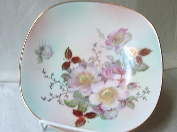German Wedding Gifts: 1950s German Hand Decorated Bowl Floral Motif . Housewarming