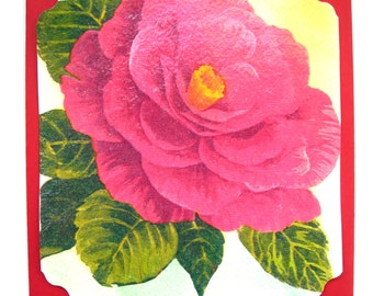 """Postcard made hands and a matching envelope """"Beautiful flower""""."""