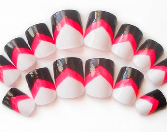 Chevron Fake Nails, Press on Nails, Tribal Nails, Hot Pink, Black, False Nails, Acrylic Nails