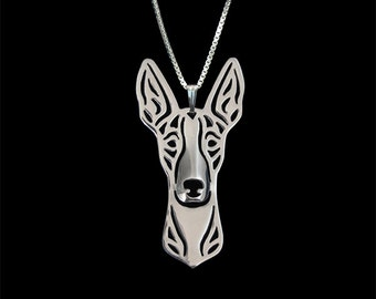 Ibizan Hound - sterling silver pendant and necklace