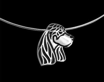 Gordon Setter jewelry - sterling silver pendant with black enamel and round omega chain.
