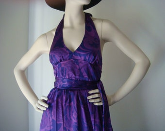 SALE//Pure Silk Purple Swirl Design Halter Maxi Dress XS Small