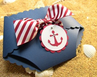 10 Nautical Shower Invitation Cards, Diaper Invitation Cards, New Baby Announcement Cards, Baby Shower Invitations, Anchor, Navy and red