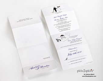Custom Wedding Invitations, Personalized Marriage Invites, DEPOSIT For 100 Unique Custom Wedding Seal And Send Illustrations, One-of-a-kind