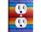 Colorful Stripes Outlet Plate Wall Decor, switchplate