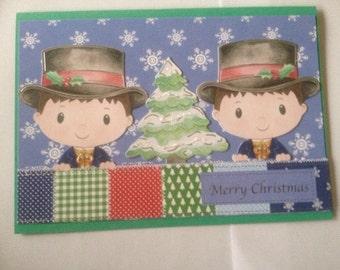 Boy,victorian card, Christmas card, glitter card, merry Christmas card, 3 D card, decoupage card