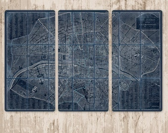 """Vintage Map of Paris METAL triptych 48x32"""" FREE SHIPPING"""