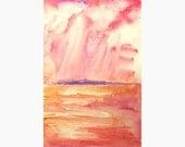 Sunrise watercolor landscape painting, colorful original painting