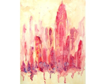 Big city, original abstract watercolor painting, contemporary home decor, modern painting