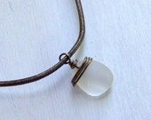 Dark Bronze Wire Wrapped Beach Glass Sea Glass Necklace on Brown Leather