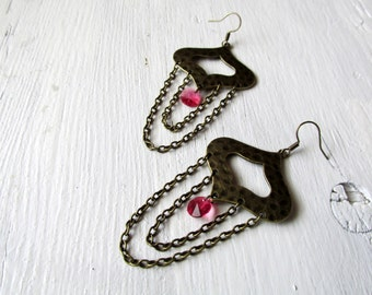 Antique Brass Chain Earrings with Indian Pink Swarovski Crsytal