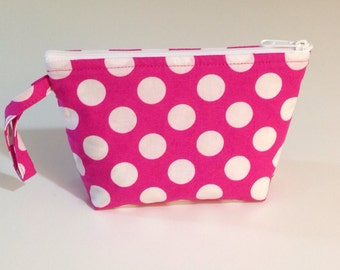 Pink Polka Dot Make Up Bag - Accessory - Cosmetic Bag