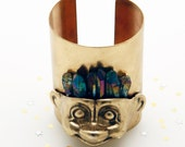 Bronze troll cuff with rainbow crystal hair. made to order