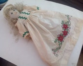Dempsey Pillowcase Doll - Blond Hair Bonnet embroidered dress Curls