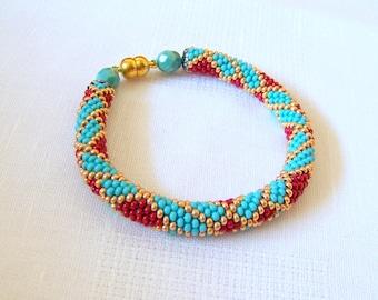 Beadwork - Beaded Crochet Bracelet - Abstract Bangle - Round Chunky Bangle - Geometric Design Bracelet - red, turquoise and gold