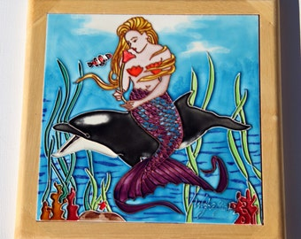 MERMAID Riding a Dolphin Clown Fish Coral Starfish and Scale Tail 3D Ceramic Tile or Trivet Framed in Oak Wood for Hanging in Rainbow Colors
