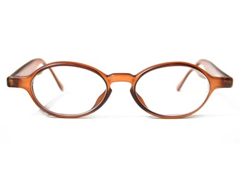 SENBICH Boho Hipster Eye Glasses Oval KEYHOLE Spectacle Eyeglasses in Cognac Brown Thick Frames for Men or Women