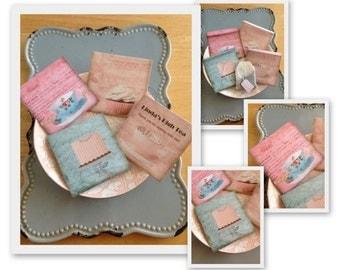 "Tea Bag Personalized Wedding Favor Or High Tea Favor ""Pastel High Tea"" Series-  including Tea Bag"