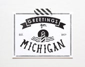 Screenprinted State of Michigan Postcard