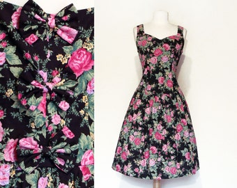 90's Bow Back Sundress Pink Roses