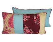 "SALE 50% OFF Amy Butler long cushion Long pillow cover 22""x12"" Memento in burgundy fabric Plum pillow Yellow pillow Long cushion Sofa pillow"
