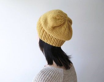 Hand Knitted Chunky Hat in Amber - Sparkly Slouch Hat - Seamless Winter Hat - Wool Blend - Ready to Ship