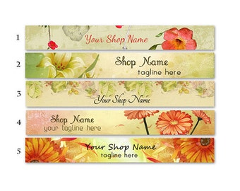 ETSY SHOP BANNERS Flowers 2 Etsy Shop Banners and 2 Etsy Shop Avatars