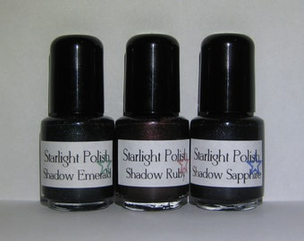 Shadow Gem Trio Dark Blackened Shimmer Nail Lacquer Indie 5mL Starlight Polish