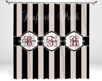 Stripe Personalized Custom Shower Curtain Monogram with Name or Initials perfect for any bathroom