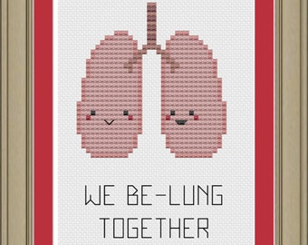 We be-lung together: cute lung anatomy cross-stitch pattern