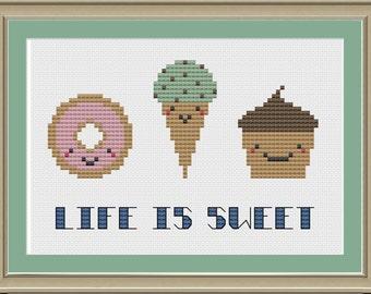 Life is sweet: cute dessert cross-stitch pattern