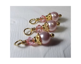 Swarovski Pearls & Crystals in Light Pink - for earrings or pendants (3)
