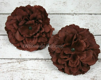 "Brown Silk Peony flowers - 4 inches Flower Heads - 4"" - 2 Peonies"