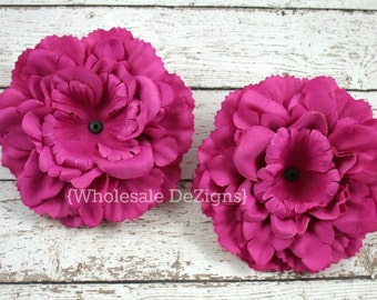 "Hot Pink Silk Peony flowers - 4 inches Flower Heads - 4"" - 2 Peonies"