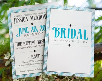 Teal Blue Bridal Shower Invitation